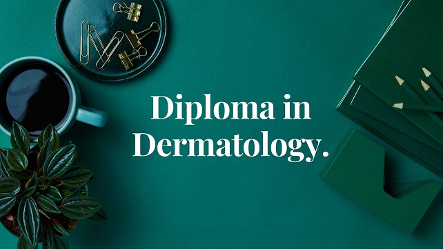 Dark green bag round with cup of coffee and white text words Diploma in Dermatology.