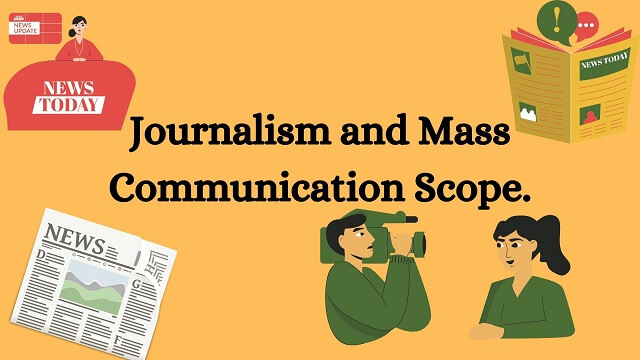 Light orange bag round with back text words Journalism and Mass Communication Scope.