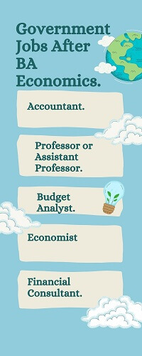 light blue baground with text words Government Jobs After BA Economics infographic.