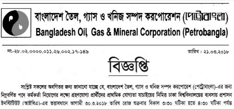 Petrobangla Job Written Exam Schedule 2018
