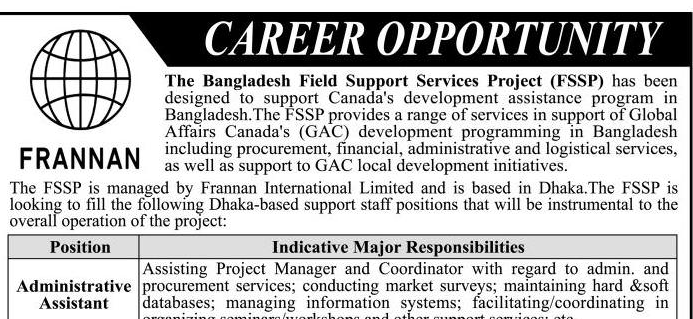 Frannan International Ltd Job Circular 2018