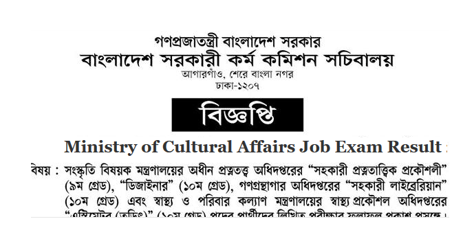 Ministry of Cultural Affairs Job Exam Result 2018