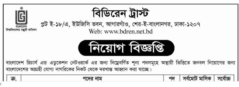 Bangladesh Research and Education Network BDREN Job Circular 2018