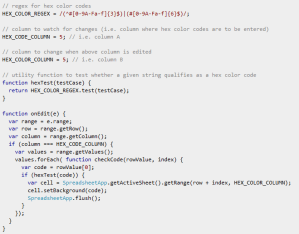 Javascript convert hex values intor colored background