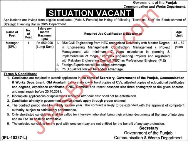 Punjab Communication and Works Department October Jobs 2021