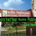 National University Honours 1st Year Exam Routine 2016 nu.edu.bd