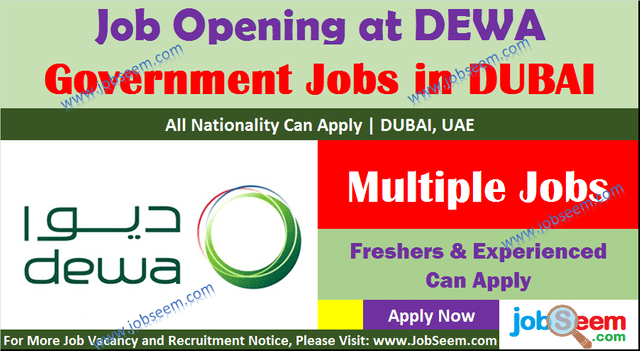 DEWA Careers Vacancy and Job Openings, Direct Staff Recruitment Walk in Interview Jobs Dubai 2020