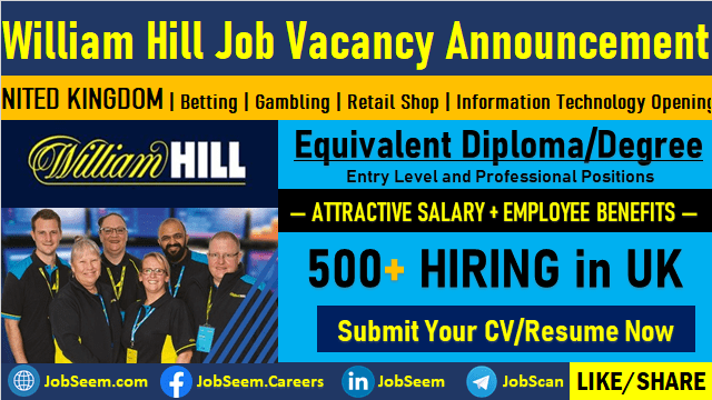 William Hill Careers Opening and Multiple Job Vacancies, Staff Recruitment