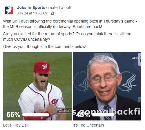 Facebook Post: With Dr. Fauci throwing the ceremonial opening pitch in Thursday's game - the MLB season is officially underway. Sports are back! Are you excited for the return of sports? Or do you think there is still too much COVID uncertainty? Give us your thoughts in the comments below!