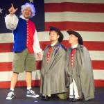 (L-R) Shawn Paonessa, David M. Jenkins and Jason Evans in Jobsite's The Complete History of America (abridged). (Photo by Brian Smallheer.)