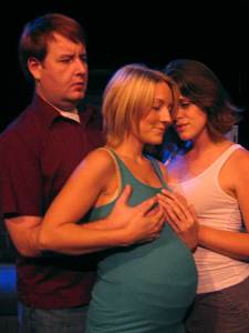 (L-R) David M. Jenkins, Alison Burns and Jessica Rothert in Jobsite's And Baby Make Seven. (Photo by Brian Smallheer.)