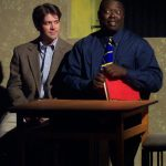 "(L-R) Chris Holcom and ""ranney"" in Jobsite's The Boys Next Door. (Photo by Brian Smallheer.)"