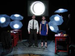 Steve Garland and Meg Heimstead in Jobsite's Dead Man's Cell Phone. (Photo by Brian Smallheer.)