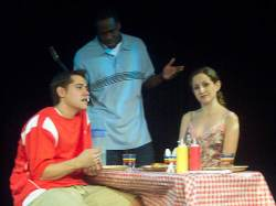 (L-R) Ryan McCarthy, David Dolphy and Heather Scheffel in Jobsite's This is How it Goes.