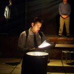 (clock from left) Paul J. Potenza, Steve Garland and Ryan McCarthy in Jobsite's The Pillowman.