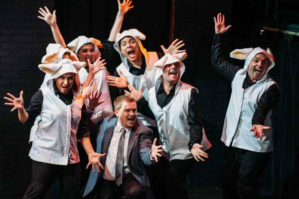 (L-R) Heather Krueger, Caitlin Greene, Colleen Cherry, Ryan Sturm, Nick Hoop, Spencer Meyers, and Jon VanMiddlesworth in Jobsite's Silence! The Musical. (Photo by Crawford Long.)