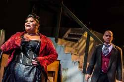 Fo'i Meleah and Jonathan Harrison in Jobsite's The Threepenny Opera. (Photo courtesy Ryan Finzelber.)
