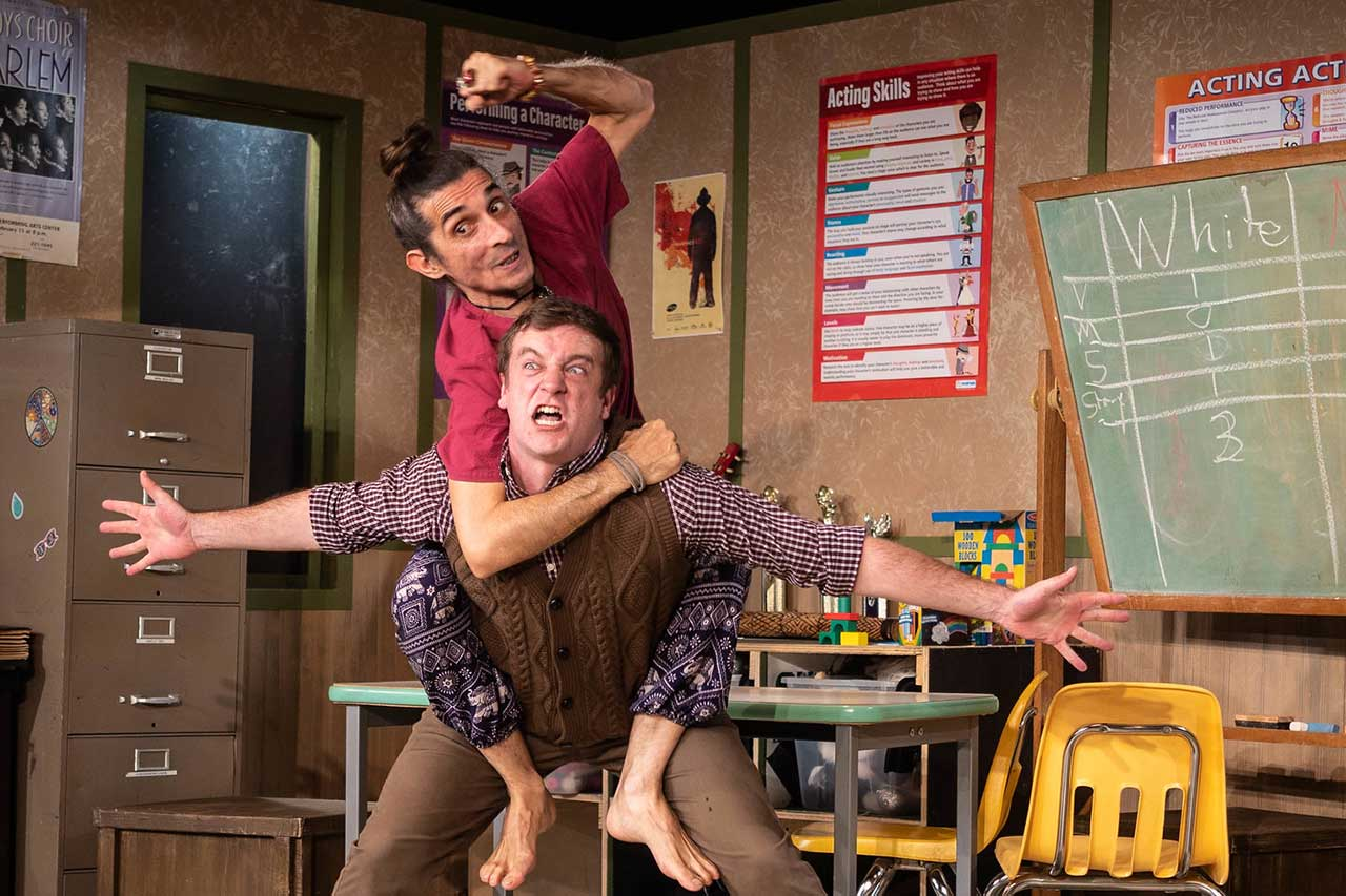 Giles Davies (top) and Adam Workman in Jobsite's The Thanksgiving Play. (Photo: Pritchard Photography.)