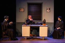 (L-R) Caitlin Eason, David M. Jenkins and Roxanne Fay in Jobsite's Doubt: A Parable. (Photo: Pritchard Photography)