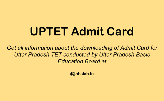 UPTET Admit Card Available - Download UP TET Hall Ticket