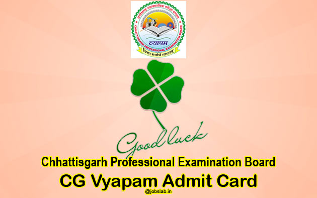 CG Vyapam Hostel Warden Admit Card 2016 for 819 Chatrawas Adhikshak Posts