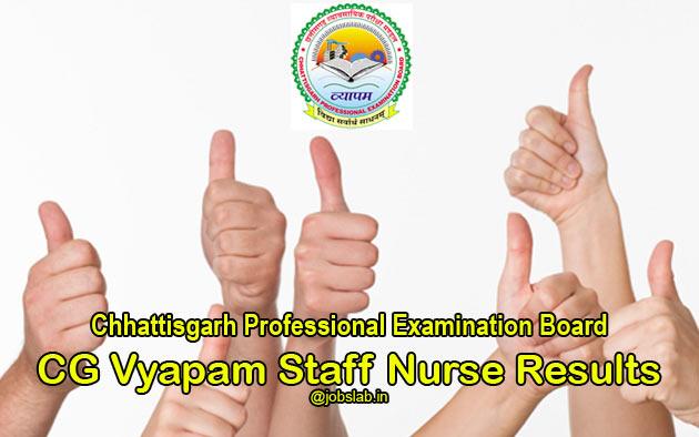 CG Vyapam Staff Nurse Result 2016 - HSSN Merit List & Cut Off Available