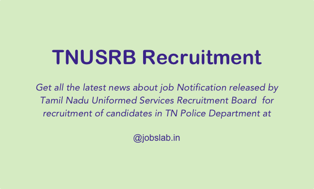 TNUSRB Recruitment Apply Online for TN Police Recruitment