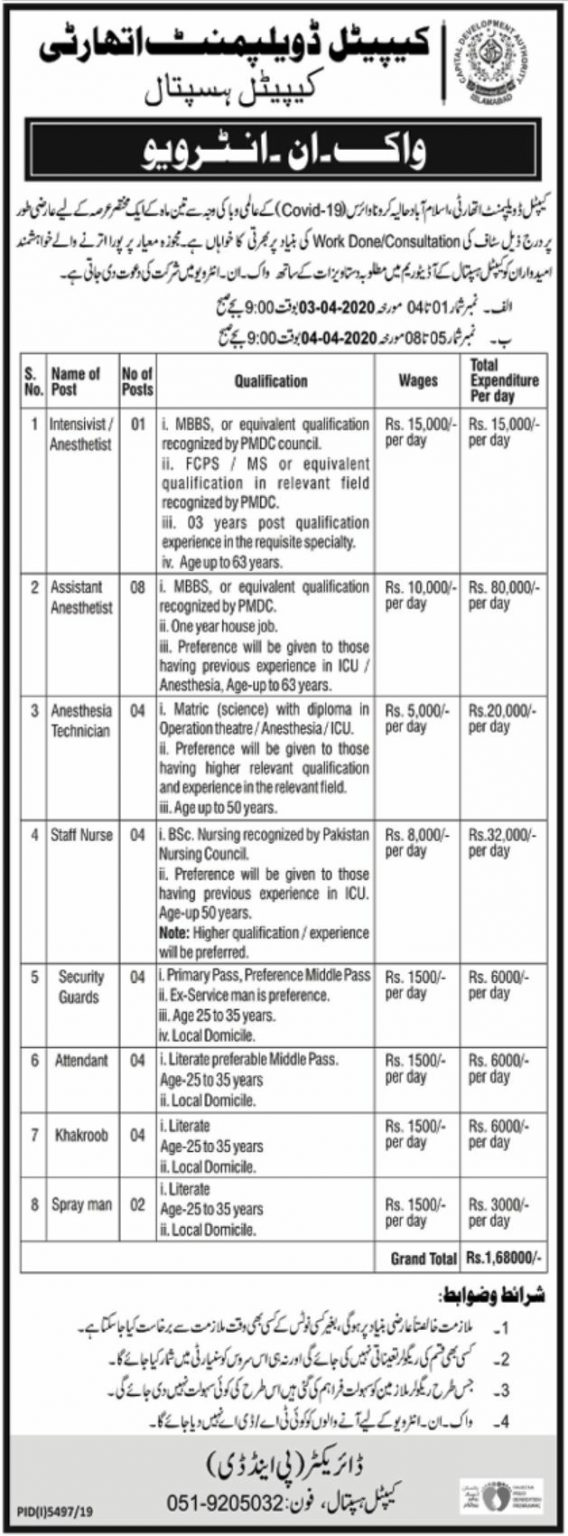 CDA Jobs 2020 Islamabad Advertisement Application Form