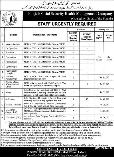 Punjab Social Security Health Management Company Jobs 2020 PSSHMC