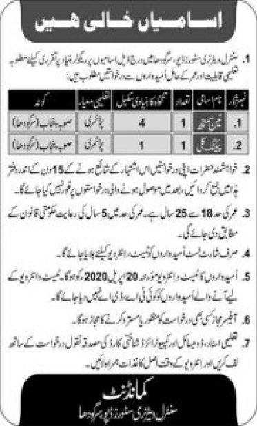 Army Central Veterinary Stores Depot Sargodha Jobs 2020