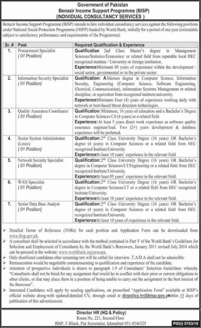 Benazir Income Support Programme BISP Jobs 2020 Online Form