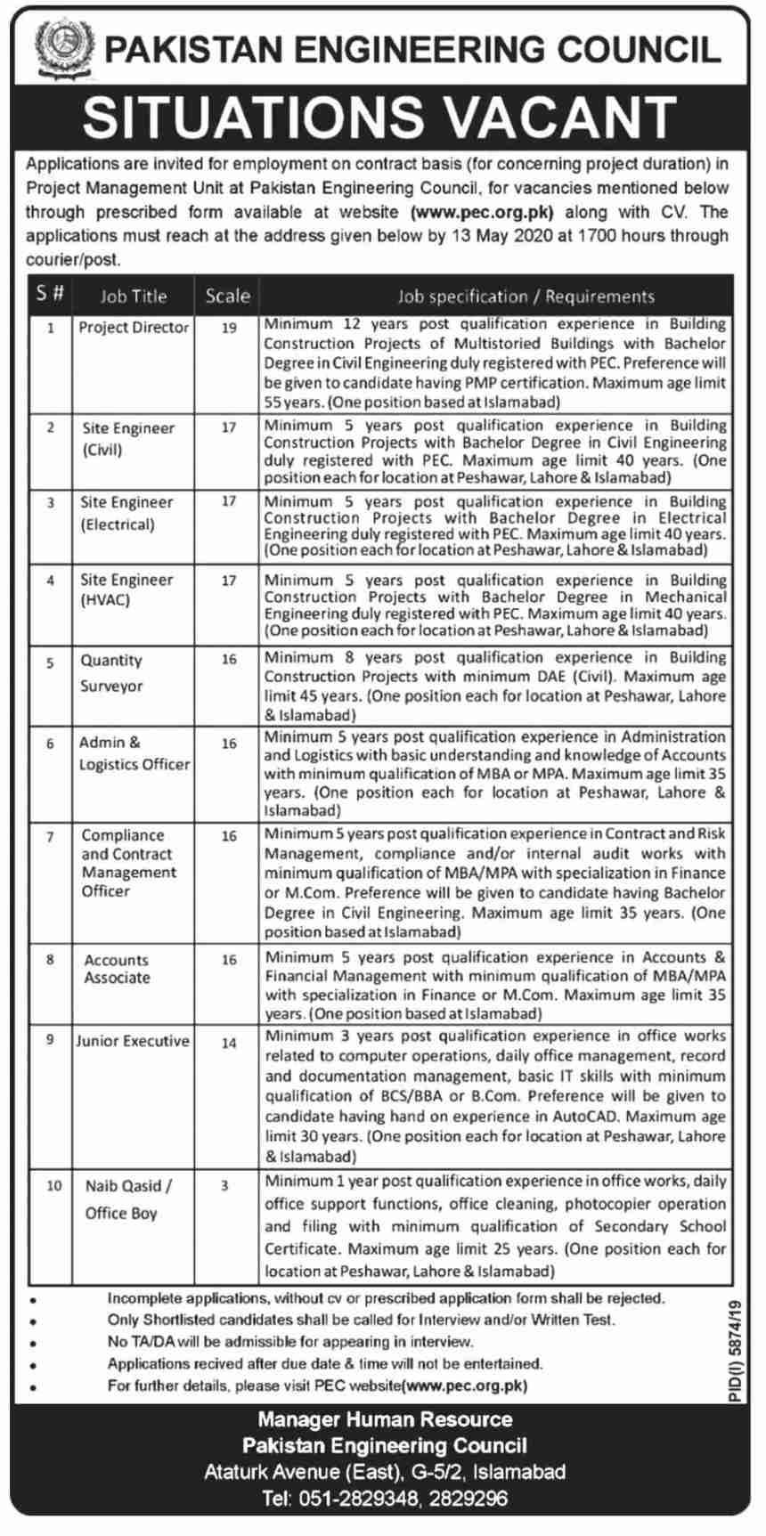 PEC Jobs 2020 Pakistan Engineering Council Form Download Online Advertisement