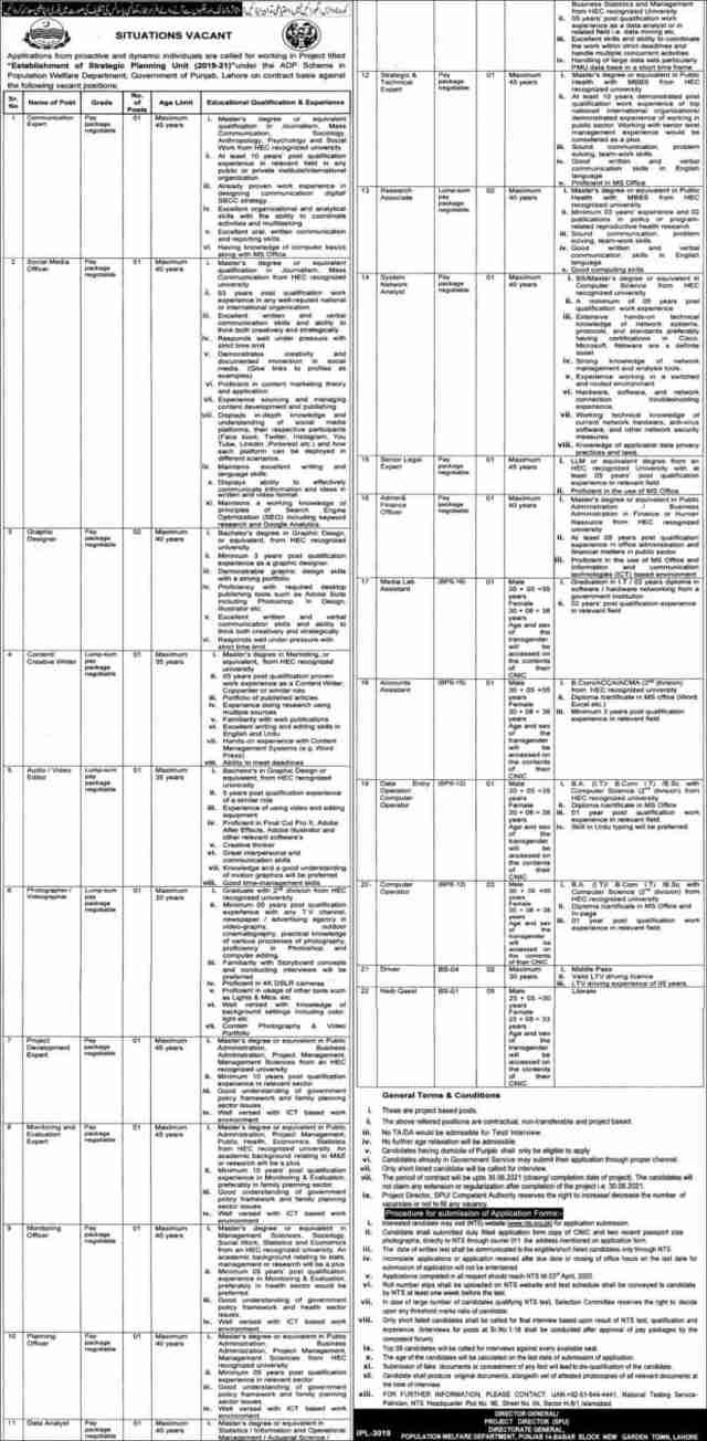 Population Welfare Department Govt of Punjab jobs 2020 Latest