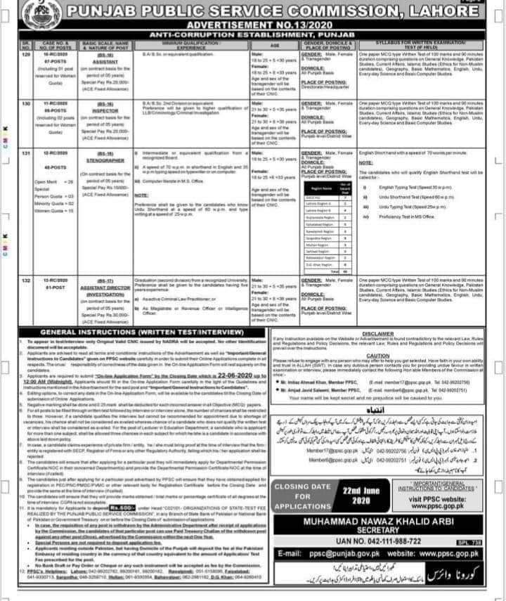 Anti Corruption Establishment Punjab Jobs 2020 PPSC Ad No 13/2020