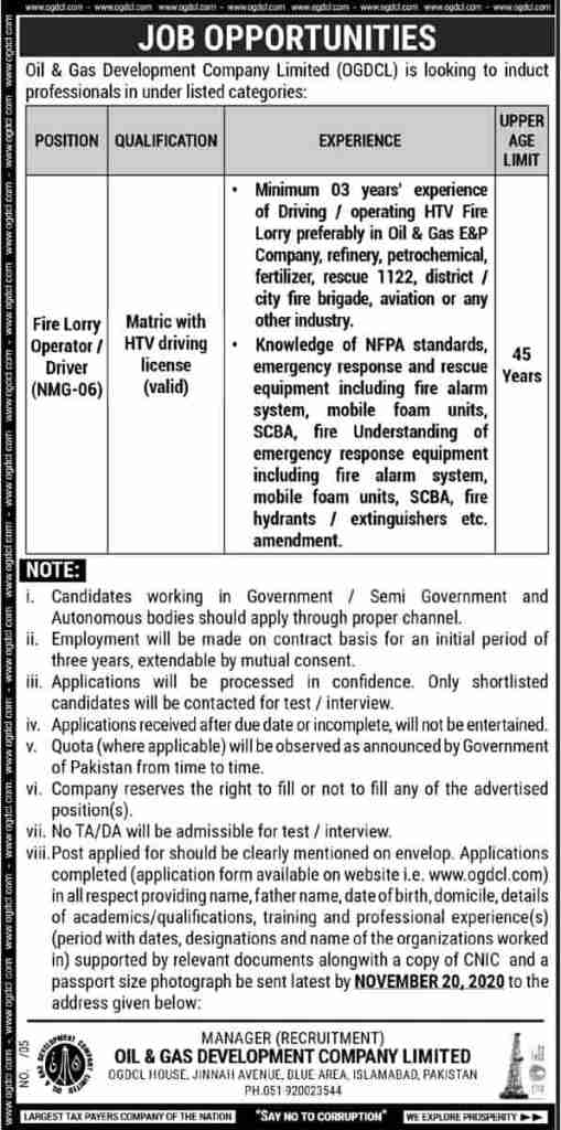 OGDCL Jobs October 2020 Oil and Gas Development Company Limited Latest