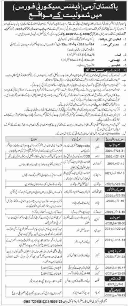 Pak Army Defence Security Force Jobs 2020/21 for General Duty Soldier