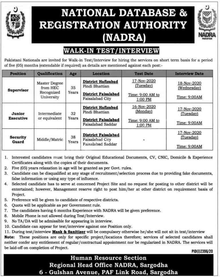 NADRA Jobs 2020 Sargodha Latest Career opportunities