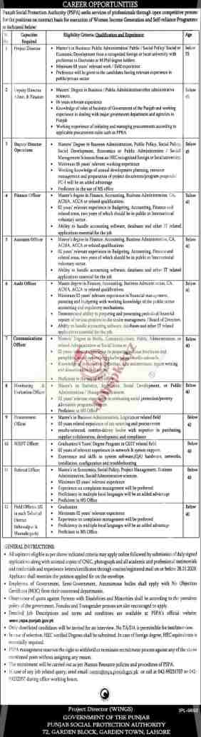 Punjab Social Protection Authority PSPA Jobs November 2020