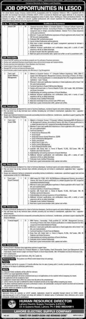 Wapda Lesco Jobs 2020 Lahore Apply Online