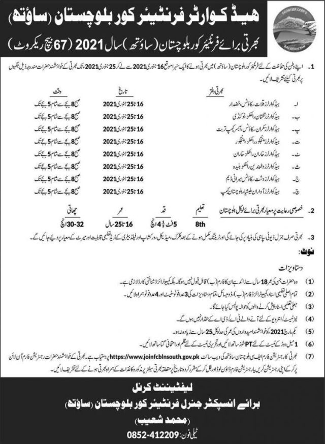 Fc Jobs 2021 Balochistan for General Duty Soldier Sipahi