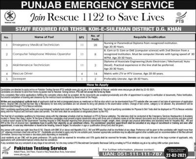 Join Rescue 1122 Jobs 2021 PTS Form Apply Online