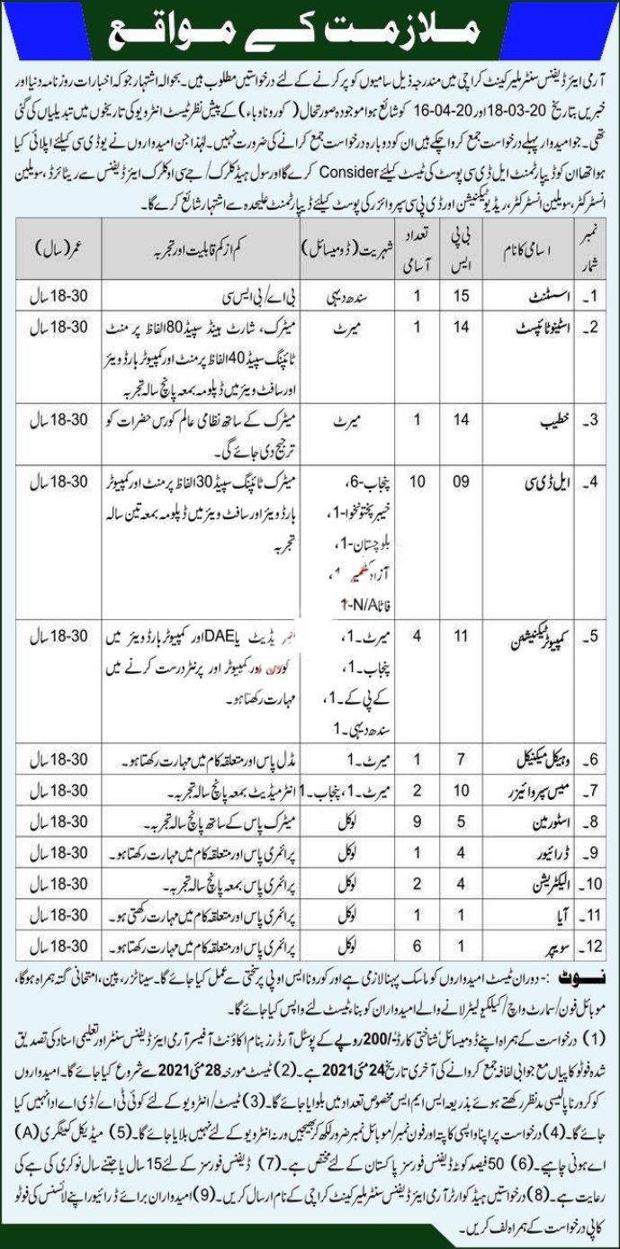 New Pak Army Civilian Jobs 2021 Air Defence Malir Cantt Karachi