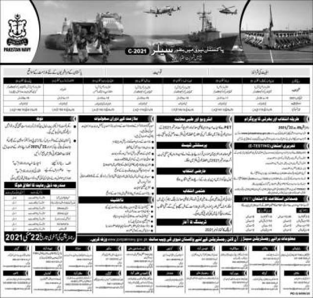 Pak Navy Sailor Jobs 2021 Advertisement