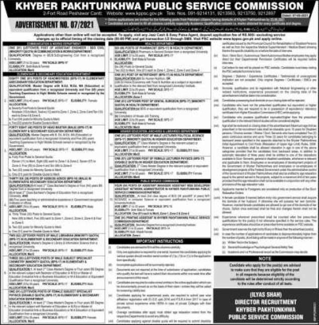 Latest KPPSC Lecturer Jobs 2021 Advertisement