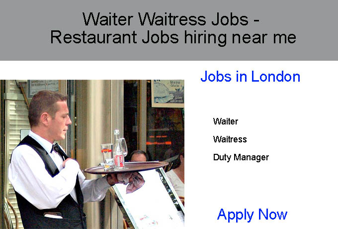Waiter Waitress Jobs  Restaurant Jobs hiring near me