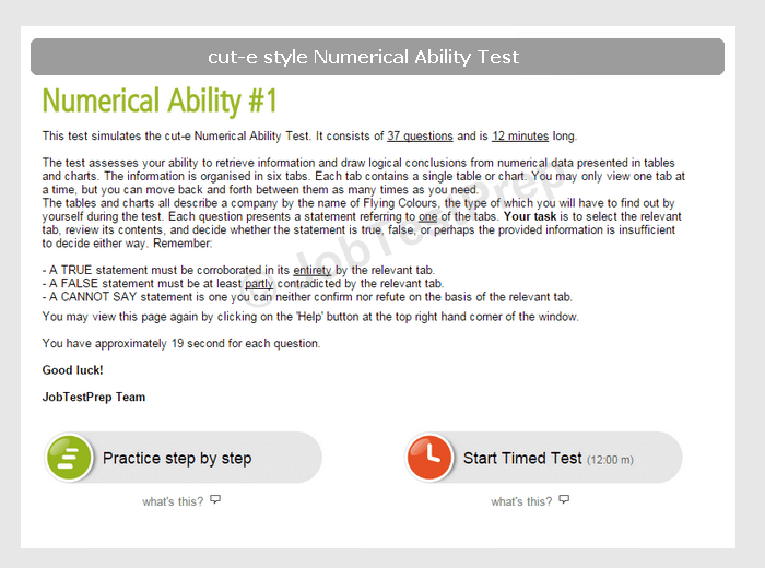 Cut E Numerical Ability Test Preparation JobTestPrep