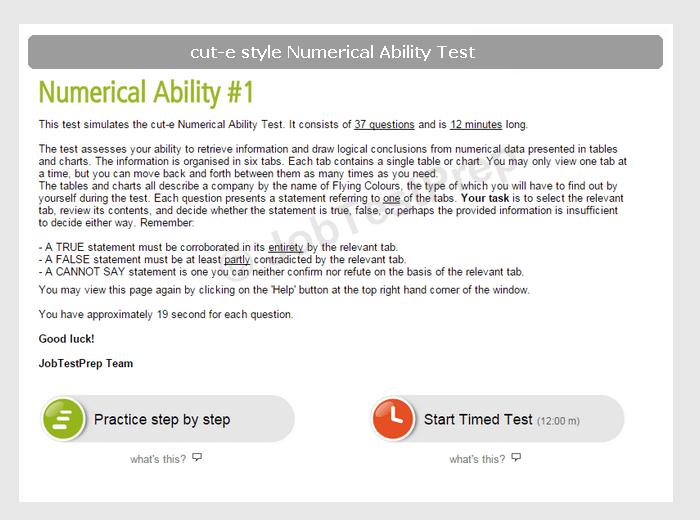 Cut E Numerical Reasoning Test Practice JobTestPrep
