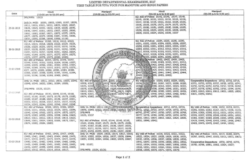 Manipur MPSC Interview Schedule for Limited Departmental