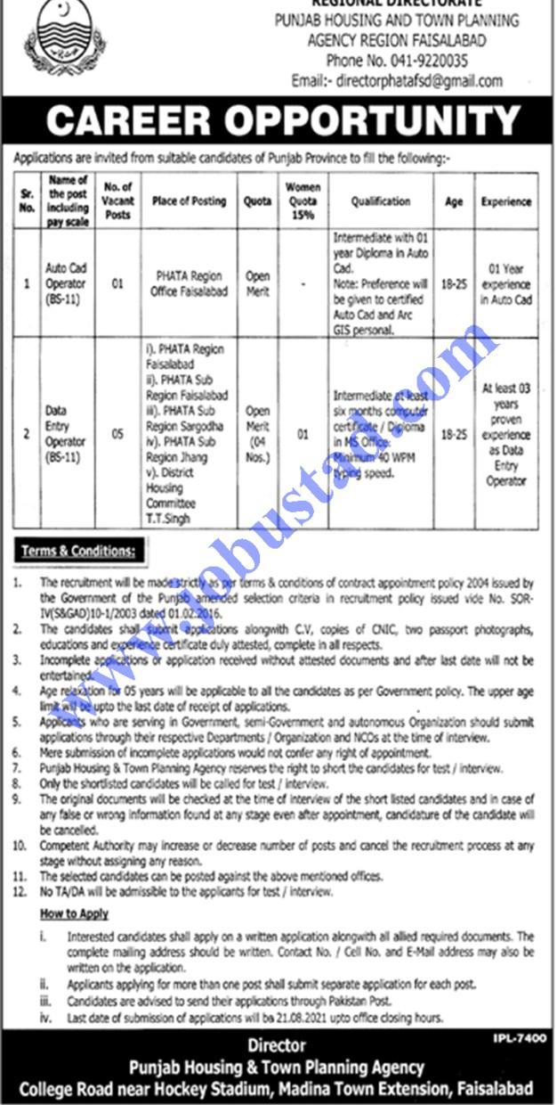 Jobs in Punjab Housing and Town Planning Agency 2021