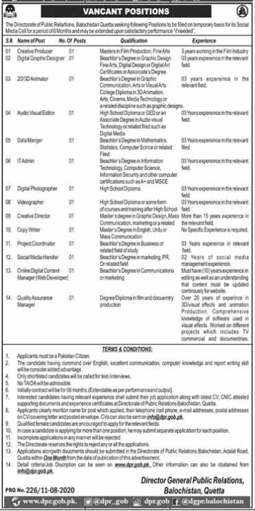 Directorate Of Public Relations Balochistan Jobs August 2020